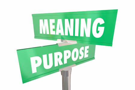 Meaning Purpose Road Street Signs Words 3d Illustration Banco de Imagens