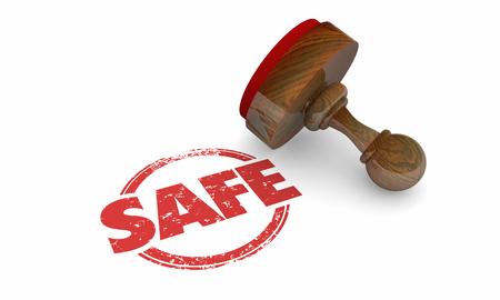 Safe Stamp Secure Certified Verified Guarantee 3d Illustration Banco de Imagens