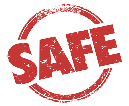 Safe Round Red Grunge Style Stamp Safety Secure Guarantee Illustration