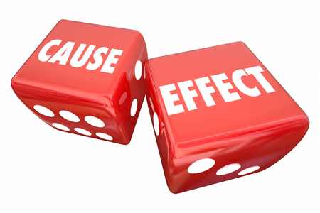 Cause and Effect Rolling Dice Take Chance Make Change 3d Illustration Stockfoto