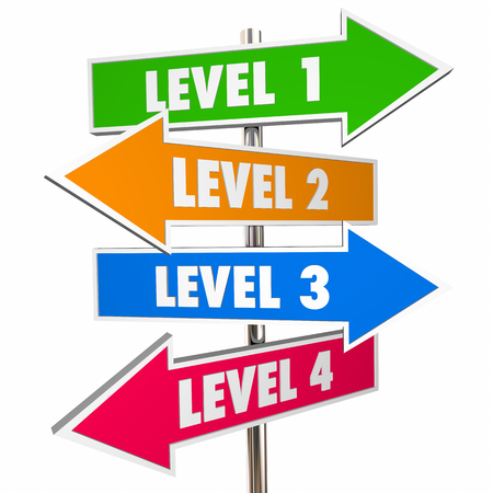 Four 4 Levels Road Street Signs 1234 Steps 3d Illustration