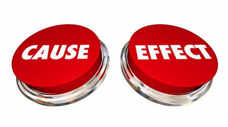 Cause and Effect Buttons Press Take Action Make Change 3d Illustration