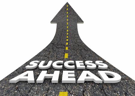 Úspech vpřed silniční jízda dopředu Budoucí uspět 3d ilustrace