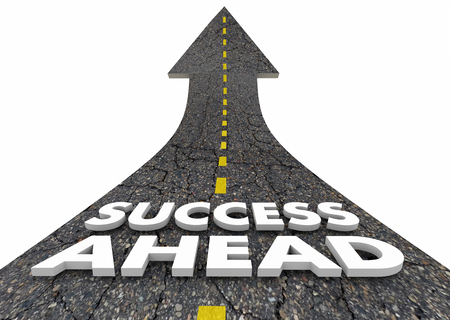Success Ahead Road Driving Forward Future Succeed 3d Illustration