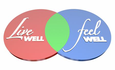 Live Well Feel Well Healthy Lifestyle Venn Diagram 3d Illustration 스톡 콘텐츠