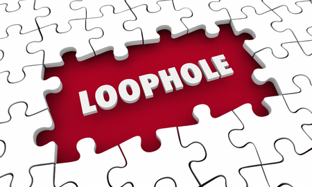 Loophole Puzzle Gap Hole Breaking Rules 3d Illustration 스톡 콘텐츠