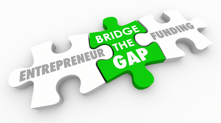 Bridge Gap Between Entrepreneurs Funding Invest Money Puzzle 3d Illustration