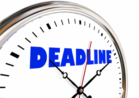 Deadline Clock Due Limited Time Hands Ticking 3d Illustration