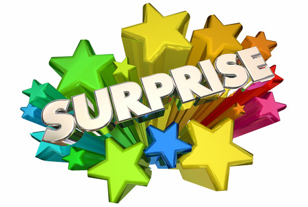 Surprise Stars Big Announcement Word 3d Illustration Stock fotó