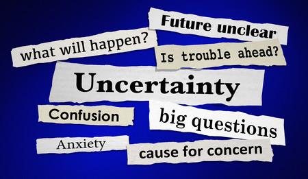 ニュースの見出しを将来の見えない不安の不確実性 3 d イラストレーション
