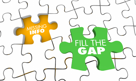 Missing Information Puzzle Fill Gap Knowledge 3d Illustration Stockfoto