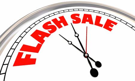 フラッシュセールクロック期間限定スペシャルオファーディール3Dイラスト 写真素材