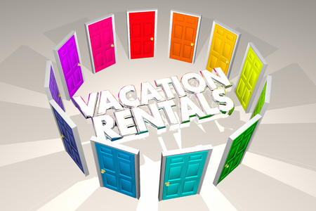Vacation Rentals Rent Property Options Doors 3d Illustration Stock Photo