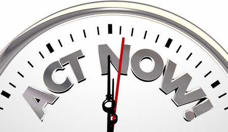 Act Now Clock Limited TIme Important Reminder 3d Illustration