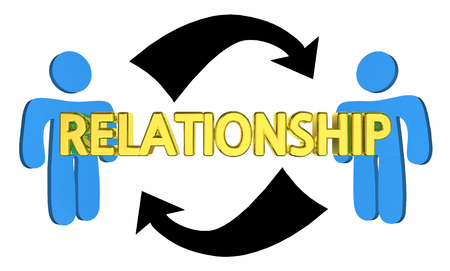 Relationship Two People Arrows Connections Word 3d Illustration