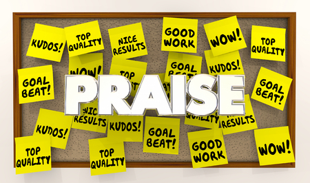 Lof complimenten Goede positieve feedback Sticky Notes 3d illustratie