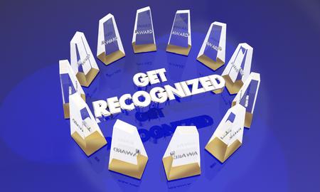Get Recognized Awards Appreciation 3d Illustration 版權商用圖片