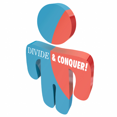 Divide and Conquer Person Competitor People 3d Illustration Imagens