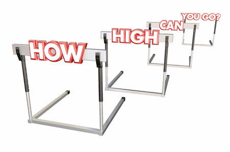 How High Can You Go Jump Hurdles 3d Illustration