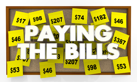Paying the Bills Bulletin Board Reminders Costs 3d Illustration
