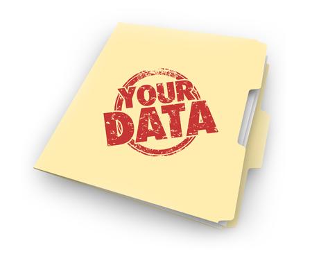 Uw gegevens Persoonlijke informatie Bestand Map 3d illustratie Stockfoto