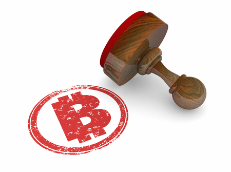 Bitcoin Stamp Symbol B Official Payment 3d Illustration