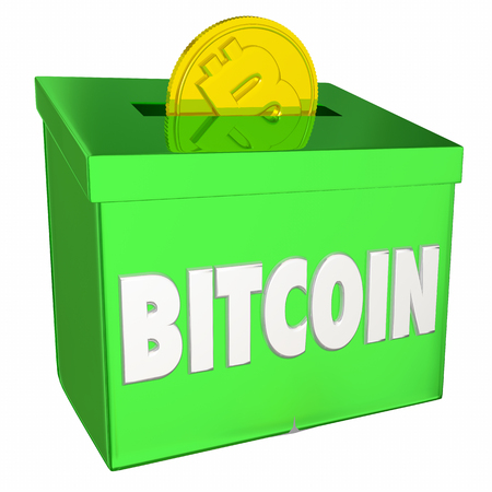 Bitcoin Collection Box Cryptocurrency Payment 3d Illustration Reklamní fotografie - 92552169