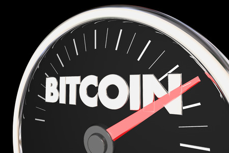 Bitcoin Cryptocurrency Speedometer Rising 3d Illustration