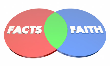 Facts Vs Faith Venn Diagram Religion or Science 3d Illustration Stok Fotoğraf