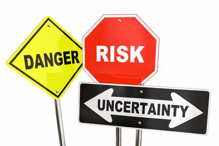 Danger Risk Uncertainty Warning Road Signs 3d Illustration