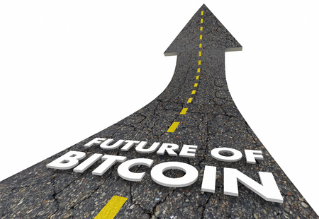 Future of Bitcoin Road Up Cryptocurrency Modern Payment 3d Illustration Stock Photo