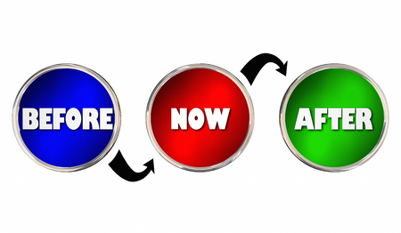 Before Now After Circles Arrows Past Future 3d Illustration Stock Photo