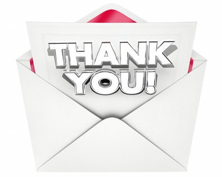 Thank You Note Letter Envelope Thanks 3d Illustration Stock Photo
