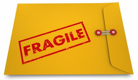 깨지기 쉬운 노란색 봉투. 3D 그림