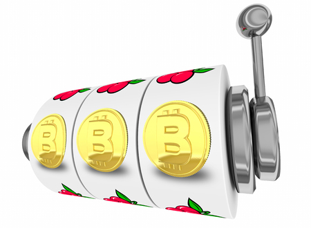 Bitcoin Slot Machine Coins Cryptocurrency Gambling 3d Illustration Zdjęcie Seryjne