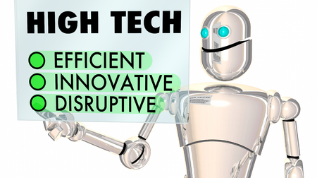High Tech Robot showing Efficient, Innovative, Disruptive Touch Screen 3d Illustration Stock Photo