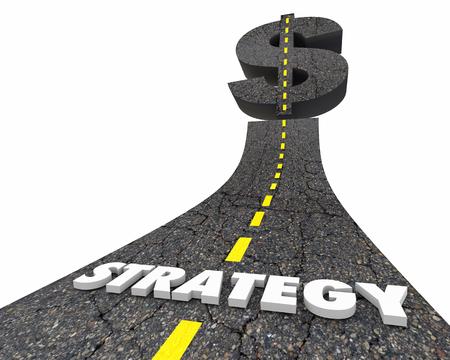 Strategy Plan Money Dollar Sign Symbol Road 3d Illustration