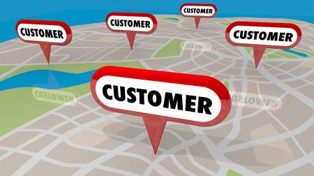 I perni della mappa del cliente individuano l'illustrazione delle nuove prospettive 3d di affari