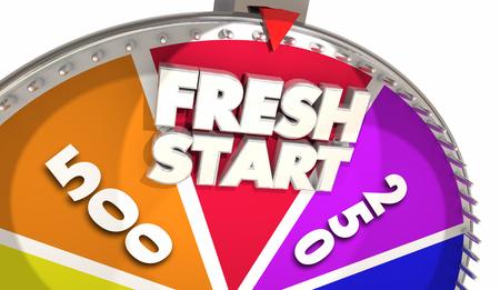Fresh Start Game Show Spinning Wheel Begin Again 3d Illustration Banco de Imagens
