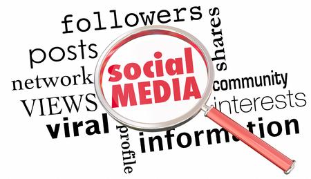 Social Media Vergrootglas Netwerkvolgers 3d Illustratie