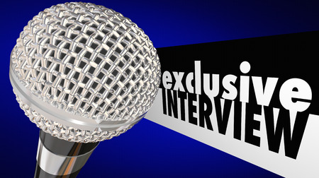 Exclusive Interview Microphone Questions Answers Show 3d Illustration Stock Photo