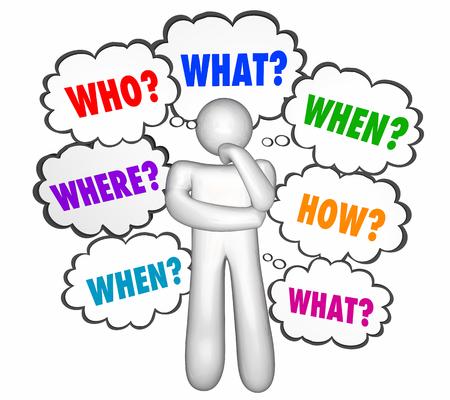 Wie Wat Waar Wanneer Waarom Hoe Vragen Denker 3d Illustratie