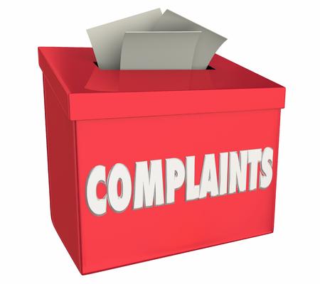 Complaints Comments Bad Negative Feedback Box 3d Illustration Foto de archivo