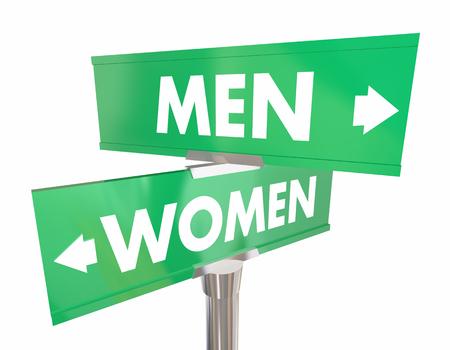 Mannen versus vrouwen twee mannelijke vrouwelijke 3d illustratie van verkeerstekenkruising Stockfoto - 92709206