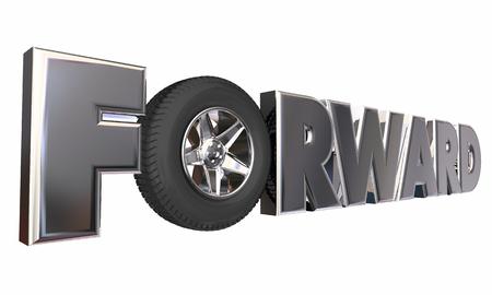 앞으로 전진하는 운전 휠 운송 3d 일러스트 이동 스톡 콘텐츠