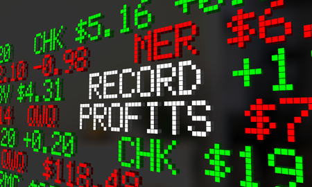 Record Profits Rising Increase Stock Market Prices Ticker 3d Illustration