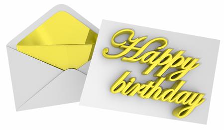 해피 생일 메모 카드 편지 봉투 3D 일러스트 레이션 스톡 콘텐츠