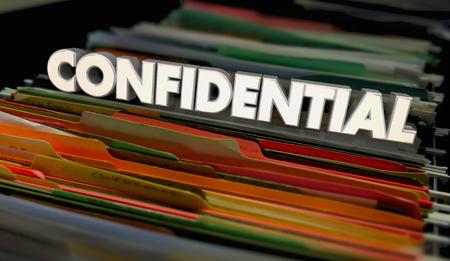 Vertrouwelijke bestandsmappen Persoonlijke documenten 3d illustratie