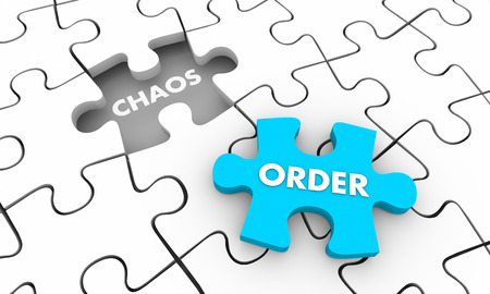 Order Vs Chaos Puzzle Piece Fill Hole 3d Illustration Stock Photo