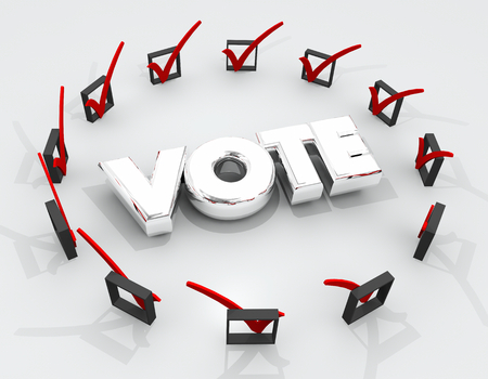 Vote Choose Pick Election Check Boxes Marks 3d Illustration
